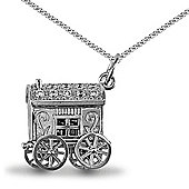 Jewelco London Rhodium Coated Sterling Silver CZ carriage Charm Pendant - 18 inch Chain