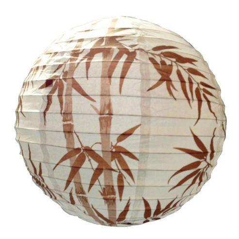 Loxton Lighting Irregular Bamboo Paper Lantern in White/Brown - White/Brown
