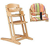 BabyDan DanChair Wooden High Chair Nature with Stripe Cushion