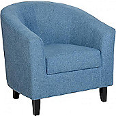 Tempo Tub Chair in Blue Fabric with Dark Brown Legs