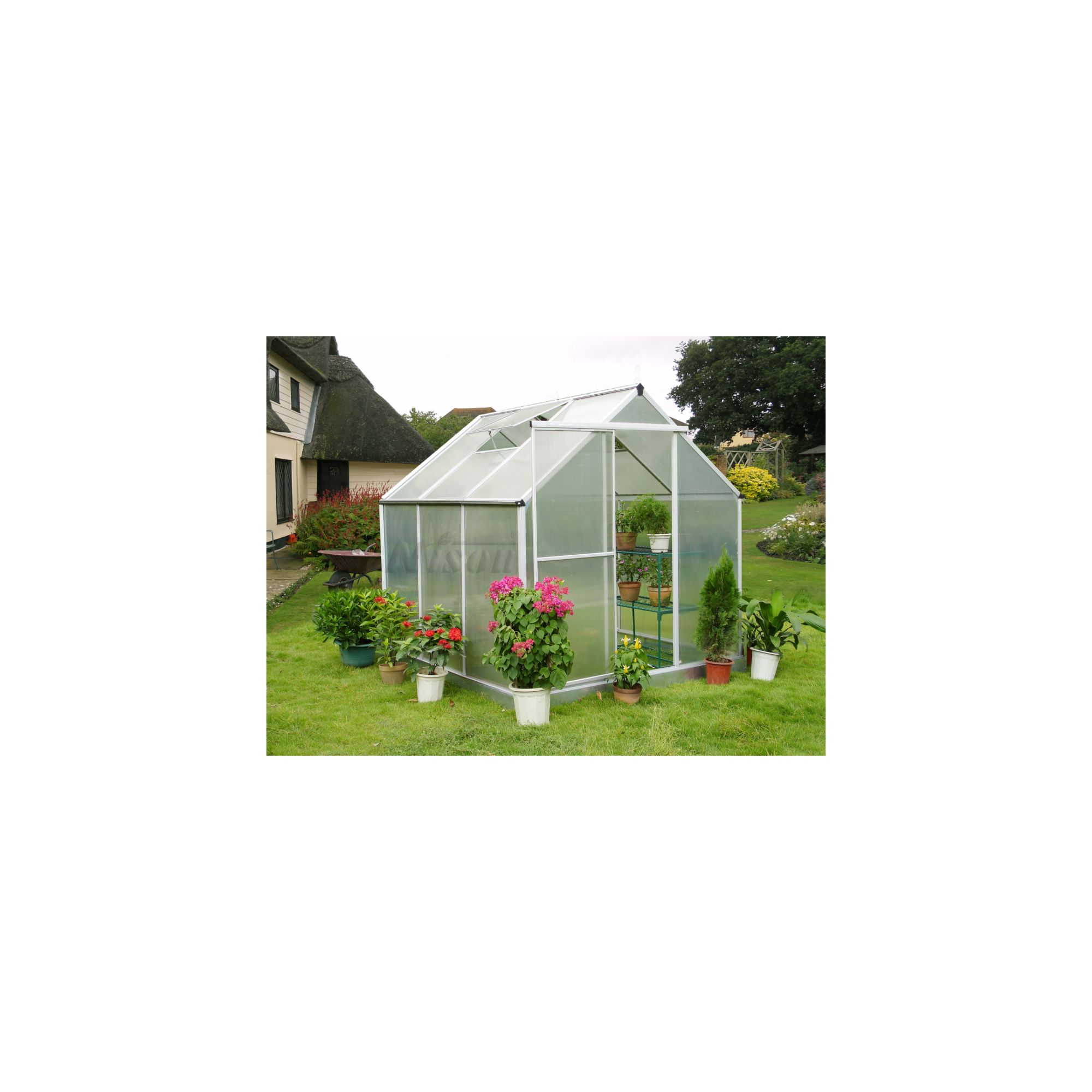 Nison Aquila 6x6 Aluminium Polycarbonate Greenhouse, Including Base & Free Shelving at Tesco Direct