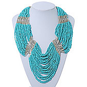 Chunky Turquoise & Transparent Glass Bead Bib Necklace In Silver Plating - 52cm Length/ 9cm Extension