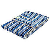 Stripe Printed Throw Blue/Grey