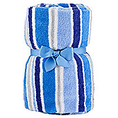 Tesco Basic Striped Fleece Blanket Blue and Grey