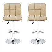 Homegear M2 Contemporary Home Adjustable Chrome Swivel Bar Chair/Stool X2 (Cream)