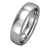Jewelco London 18ct White Gold - 5mm Premium Bombe Court-Shaped Band Commitment / Wedding Ring - Size Z 1/2