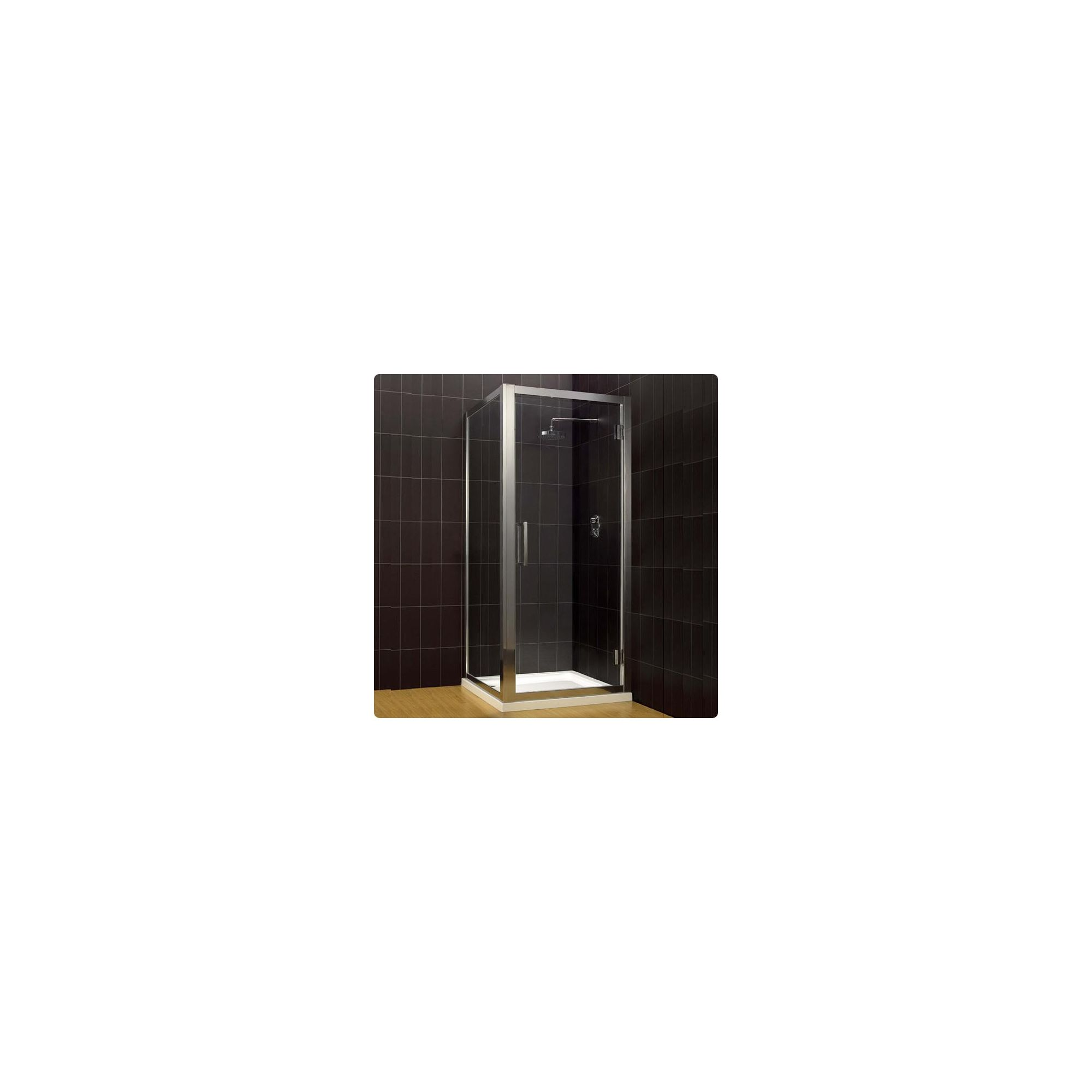 Duchy Supreme Silver Hinged Door Shower Enclosure, 760mm x 760mm, Standard Tray, 8mm Glass at Tesco Direct