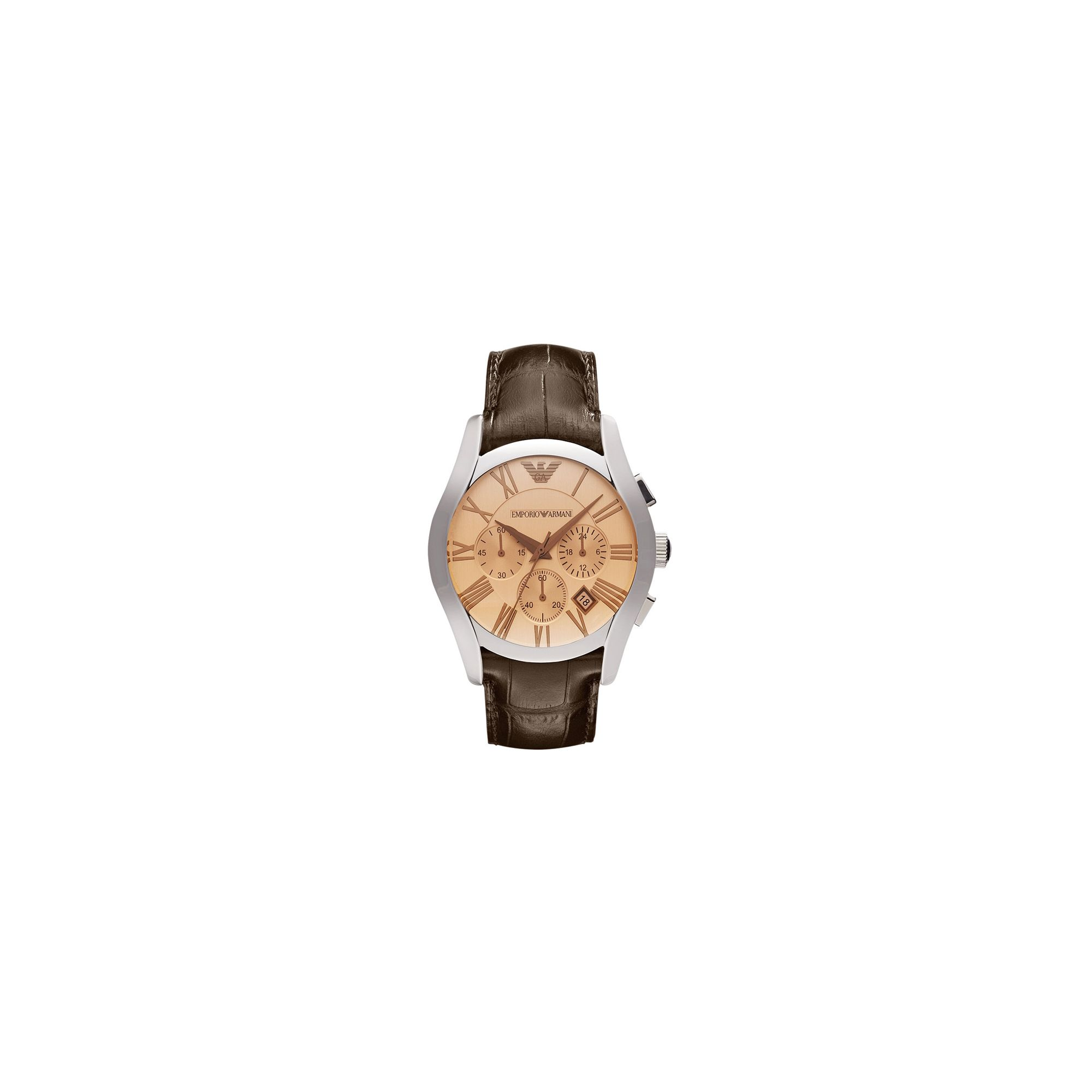 Emporio Armani Gents Chronograph Brown Leather Strap Watch AR1634 at Tesco Direct