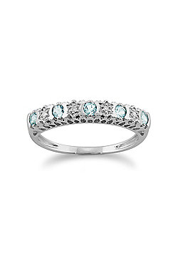 Gemondo 9ct White Gold 0.24ct Aquamarine & Diamond Half Eternity Ring