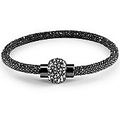 Jewelco London Sterling Silver Cubic Zirconia Black Rhuthenium bead set Popcorn Bracelet
