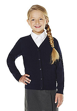 F&F School Girls Cable Knit Cardigan with As New Technology - Navy