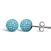 Jewelco London Sterling Silver Crystal 8mm light blue studs Shamballa Earrings