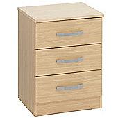 Ideal Furniture Budget Three Drawer Bedside Table - Oak