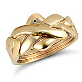 9ct Solid Gold hand assembled 4 Piece Puzzle Ring