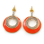 Orange Enamel, Crystal Double Hoop Earrings In Gold Plating - 30mm Length