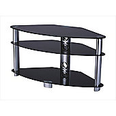 Iconic TV Stand with Black Glass and Silver Legs for up 42 inch