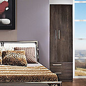 Welcome Furniture Contrast Tall 2 Drawer Wardrobe - Cocobola