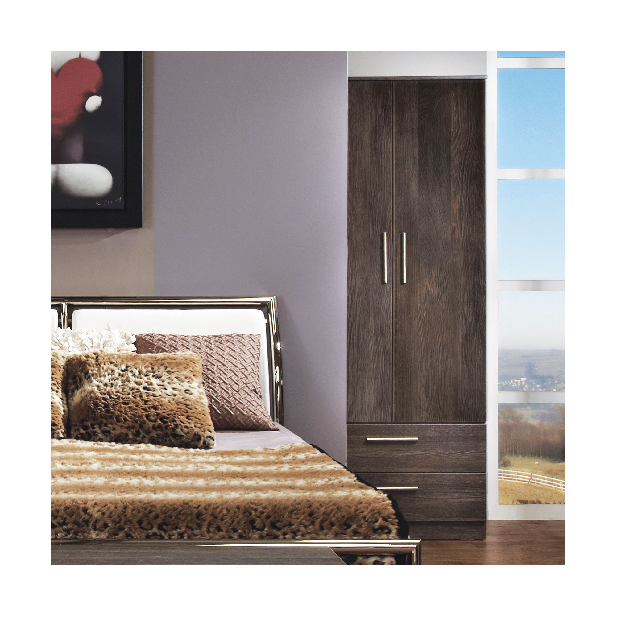 Welcome Furniture Contrast Tall 2 Drawer Wardrobe - Cocobola at Tesco Direct