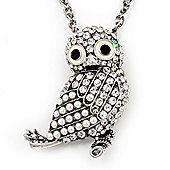 Long Cute Crystal & Pearl Owl Pendant Necklace In Antique Silver Metal - 60cm Length (10cm Extension)