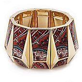 Wide Goldtone Geometric Flex Bracelet - Up to 18cm Length