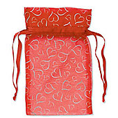 Valentines Organza Bags Red with Silver Hearts (12pk)