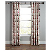 Tesco Linear Leaf Unlined Eyelet Curtains - Chocolate & Red