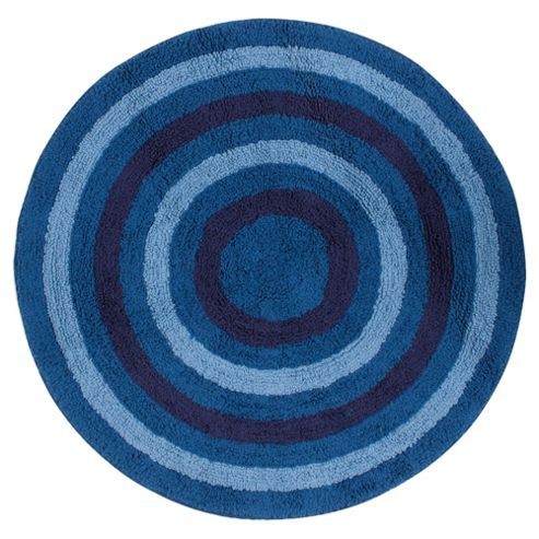 Kids stripe Circle rug blue