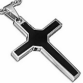 Urban Male Stainless Steel & Black Resin Inlay Cross Pendant