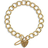 Jewelco London 9ct Solid Gold traditional heavy weight Charm Bracelet - heart padlock - 9.5mm Guage