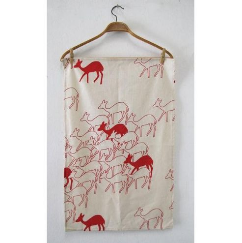Skinny Laminx Deer Tea Towel, Red