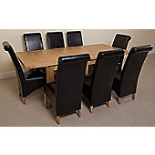 Seattle Solid Oak Extending 150 - 210 cm Dining Table with 8 Black Montana Leather Chairs