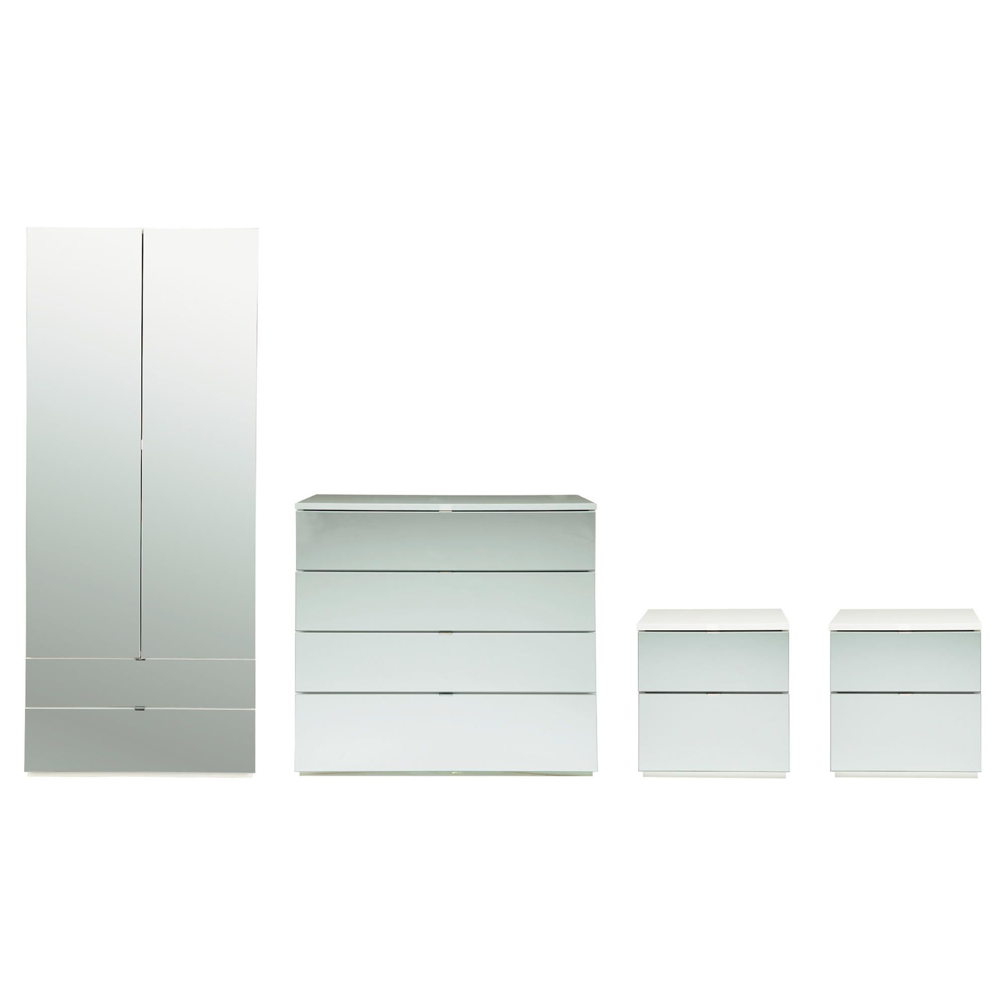 Palermo Package 3 White (Wardrobe, 2 x Bedside, 4 Drawer Chest)-Mirrored at Tesco Direct