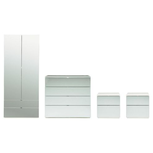 Palermo Package 3 White (Wardrobe, 2 x Bedside, 4 Drawer Chest)-Mirrored