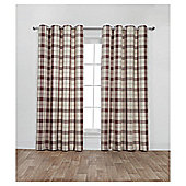 Woven Check Lined Eyelet Curtains - Red - 66 X 72