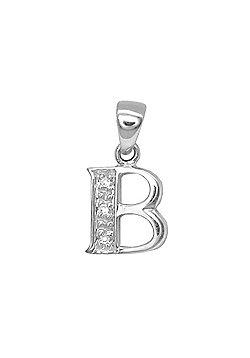 Jewelco London 9 Carat White Gold Elegant 1.5pts Diamond-Set Initial Pendant - Initial B