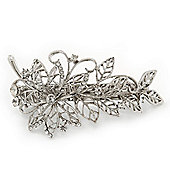 Bridal Wedding Prom Silver Tone Filigree Diamante 'Flower & Leaves' Barrette Hair Clip Grip - 90mm Across