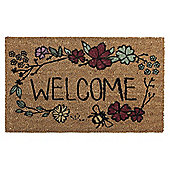 Welcome Flower Design Coir Mat, 45 x 75