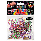 DIY Loom Bands - 100 Count Metallic Multi Colour Refill bands with Clips and Loom tool