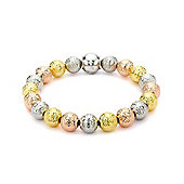Jewelco London Rhodium Coated Sterling Silver 3-Colour Balls Bead Bracelet