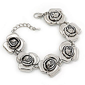 Silver Plated 'Rose' Bracelet - 17cm Length/ 3cm Extension