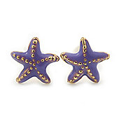 Children's/ Teen's / Kid's Tiny Light Purple Enamel 'Starfish' Stud Earrings In Gold Plating - 8mm Diameter