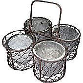 Sow - 4 Storage Pots / Planters In Wire Caddy - Brown