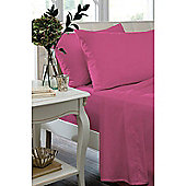 Catherine Lansfield Non Iron Percale Combed Poly-Cotton Fitted Sheets in Hot Pink - Single
