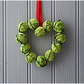 Brussel Sprout Small Heart Christmas Wreath