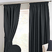 Homescapes Black Herringbone Chevron Blackout Curtains Pair Pencil Pleat, 66x54""
