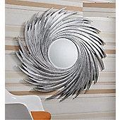 Large Round Twist Design Big Silver Swirl Wall Mirror 3Ft7 114Cm