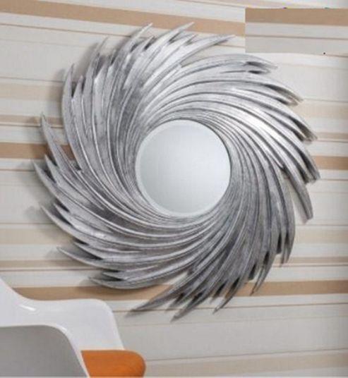 Buy Large Round Twist Design Big Silver Swirl Wall Mirror