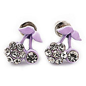 Tiny Lavender Enamel Diamante Sweet 'Cherry' Stud Earrings In Silver Tone Metal - 10mm Diameter