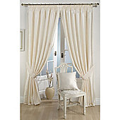 KLiving Pencil Pleat Ravello Faux Silk Lined Curtain 90x72 Inches Cream