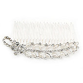 Bridal/ Wedding/ Prom/ Party Rhodium Plated Crystal Flower And Pearl Leaf Hair Comb - 95mm